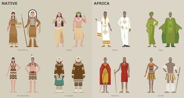 uma coleção de trajes tradicionais por país. povos indígenas e africanos. ilustrações de desenho vetorial. vetor