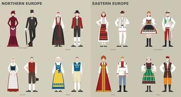 uma coleção de trajes tradicionais por país. Europa. ilustrações de desenho vetorial. vetor