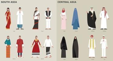 uma coleção de trajes tradicionais por país. Ásia Central. ilustrações de desenho vetorial. vetor