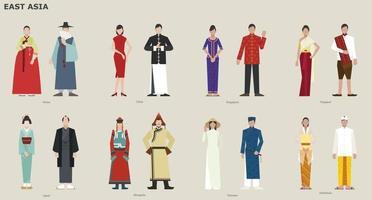 uma coleção de trajes tradicionais por país. Ásia leste. ilustrações de desenho vetorial. vetor