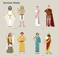 uma coleção de trajes tradicionais por país. país antigo. ilustrações de desenho vetorial. vetor