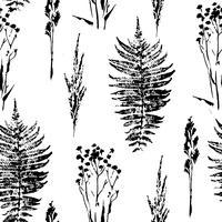 Padrão sem emenda botânica abstrata. Fundo à base de plantas do vetor. vetor