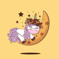 unicórnio bonito dos desenhos animados dormindo na lua com uma coroa de outono vetor