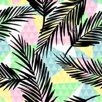 Na moda sem costura padrão exótico com palm e elementos geométricos. vetor