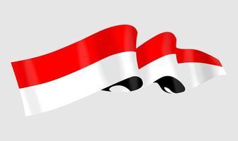 ilustração da bandeira nacional da Indonésia vermelha e branca vetor