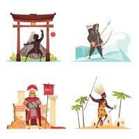 ícones do conceito de guerreiros antigos definir ilustração vetorial vetor