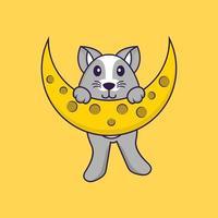 rato fofo está na lua. conceito de desenho animado animal isolado. pode ser usado para t-shirt, cartão de felicitações, cartão de convite ou mascote. estilo cartoon plana vetor