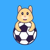coelho fofo jogando futebol. conceito de desenho animado animal isolado. pode ser usado para t-shirt, cartão de felicitações, cartão de convite ou mascote. estilo cartoon plana vetor
