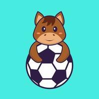 cavalo bonito jogando futebol. conceito de desenho animado animal isolado. pode ser usado para t-shirt, cartão de felicitações, cartão de convite ou mascote. estilo cartoon plana vetor