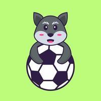 raposa bonita jogando futebol. conceito de desenho animado animal isolado. pode ser usado para t-shirt, cartão de felicitações, cartão de convite ou mascote. estilo cartoon plana vetor