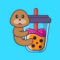 lindo cachorro bebendo chá de leite de boba. conceito de desenho animado animal isolado. pode ser usado para t-shirt, cartão de felicitações, cartão de convite ou mascote. estilo cartoon plana vetor