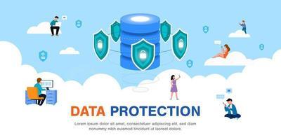 segurança de dados global segurança de dados pessoais segurança de dados cibernéticos ilustração do conceito on-line vetor
