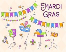 feliz mardi gras carnaval elemento de design de vetor festivo
