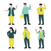 conjunto de pessoas na ilustração vetorial de coleção de personagem de desenho animado vetor
