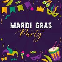 ilustração tipográfica vetorial de fundo roxo beleza mardi gras com textura de losango e bandeiras festivas multicoloridas, confetes, tambores e muito mais. cartão comemorativo vetor