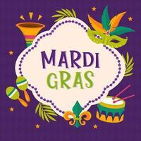 cartaz da festa de mardi gras. cartão de caligrafia e tipografia. pérolas borlas e símbolo da flor de lis. pôster de férias ou modelo de placa vetor