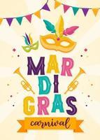 máscara de carnaval laranja com penas. projeto de conceito bonito com belas letras para cartaz, cartão, convite para festa, banner ou panfleto. ilustração vetorial. vetor