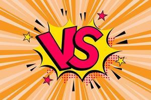 versus letras vs luta fundos em design de estilo de quadrinhos simples com meio-tom, relâmpago. ilustração vetorial vetor