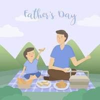 pai leva seu filho em viagens de acampamento do dia do pai vetor