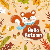 os esquilos encontram e armazenam as bolotas no outono como alimento para o inverno. vetor