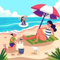 uma mulher de férias vai à praia dar um mergulho e depois descansa embaixo de um guarda-sol. vetor