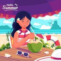 uma mulher se senta e come água de coco em uma mesa sob a sombra do sol vetor