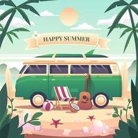 uma van verde estacionada na praia em um dia relaxante. vetor