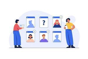 videochamada em grupo, jovens personagens tendo uma reunião online. vetor