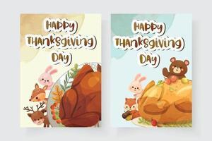 cartão de feliz dia de ação de graças com peru, esquilo, urso, coelho e veado vetor