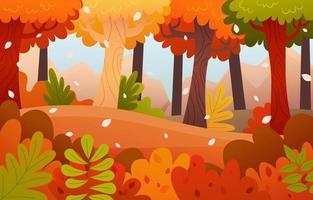 cenário de floresta na temporada de outono vetor