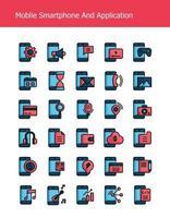 contorno preenchido ícones de tecnologia de smartphone móvel vetor