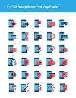ícones de tecnologia de smartphone plana móvel vetor