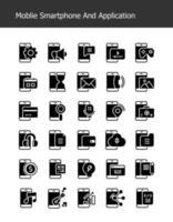 ícones de tecnologia de smartphone glifo sólido vetor