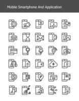 ícones de tecnologia de smartphone de linha simples vetor
