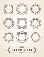 Conjunto de emblemas Vintage retrô, quadros, etiquetas e bordas. vetor