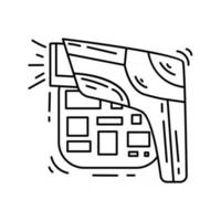 ícone de código de barras de comércio eletrônico. conjunto de ícones desenhados à mão, contorno preto, ícone do doodle, ícone do vetor