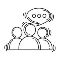 ícone de discussão de comércio eletrônico. conjunto de ícones desenhados à mão, contorno preto, ícone do doodle, ícone do vetor
