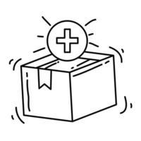 novo produto de e-commerce. conjunto de ícones desenhados à mão, contorno preto, ícone do doodle, ícone do vetor