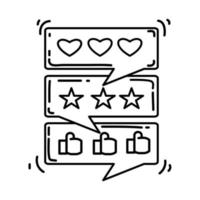 depoimento de e-commerce. conjunto de ícones desenhados à mão, contorno preto, ícone do doodle, ícone do vetor