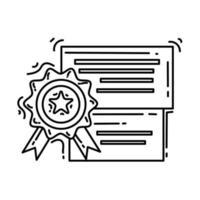 ícone de qualidade de comércio eletrônico. conjunto de ícones desenhados à mão, contorno preto, ícone do doodle, ícone do vetor