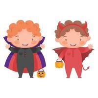 crianças em fantasias de drácula e demônio de halloween vetor