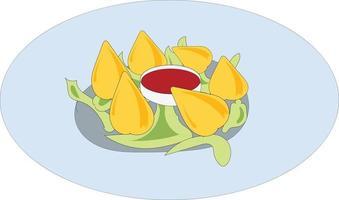 desenho de ilustração de comida brasileira com o nome de coxinha vetor