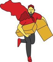 design de vetor de entrega de pacote, compras online na era da pandemia