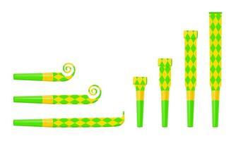 sopradores de festa enrolados e desenrolados, buzinas, fabricantes de ruído. som verde e amarelo apita com padrão de losango isolado no fundo branco. vista lateral e superior vetor