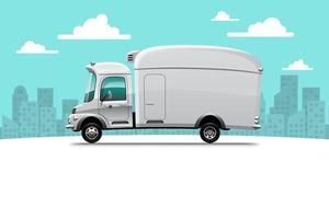 grandes ícones de vetor de veículo de entrega isolados, ilustrações planas de caminhão, conceito de transporte comercial logístico.