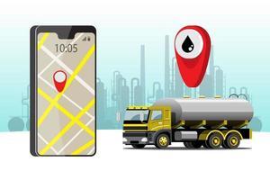 grande veículo isolado vetor ícones coloridos, ilustrações planas de entrega por van através do local de rastreamento gps. veículo de entrega, gás, gasolina, entrega de combustível, entrega instantânea, entrega online.