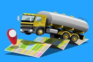 grande veículo isolado vetor ícones coloridos, ilustrações planas de entrega por van através do local de rastreamento gps. veículo de entrega, entrega de água líquida, entrega instantânea, entrega online.