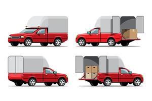 conjunto de ícones de vetor de grande veículo isolado, ilustrações planas vária vista de van, conceito de transporte comercial logístico.
