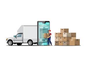 grande veículo isolado vetor ícones coloridos, ilustrações planas de entrega por van através do local de rastreamento gps. veículo de entrega, entrega de mercadorias e comida, entrega instantânea, entrega online.