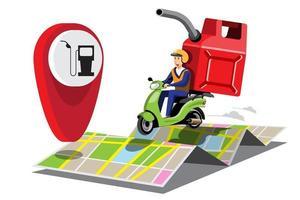 grandes ícones coloridos de vetor de motocicleta isolada, ilustrações planas de entrega por motocicletas por meio de localização de rastreamento gps. entrega de bicicleta, combustíveis, gás, entrega de gasolina, entrega instantânea, entrega online.